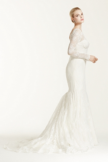Lace Trumpet Long Sleeve Illusion Neck Gown ZP341506