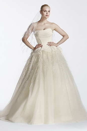 Organza Gown with Feather Skirt and Corset Bodice ZP341550