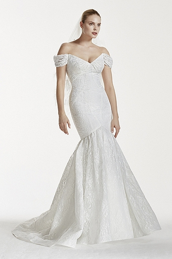 Bonded Lace V-Back Gown with Contour Seaming ZP341554