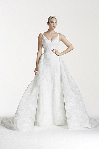 Tank Bonded Lace Gown with Trumpet Overskirt ZP341555