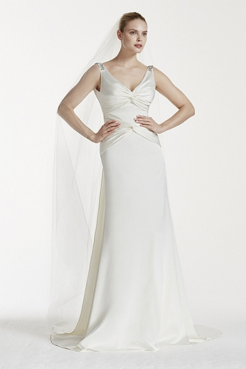 Tank V-Neck Satin Sheath Gown with Ruched Bodice ZP341556