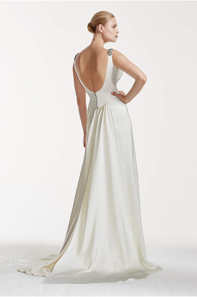 Truly zac posen satin a line wedding dress davids bridal for Truly zac posen wedding dress with sequin detail