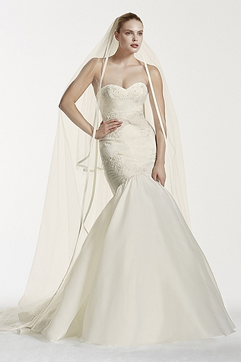 Beaded Lace Gown with Organza Mermaid Skirt ZP341560