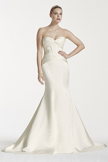 Satin Corset Mermaid Gown with Pleats ZP341564