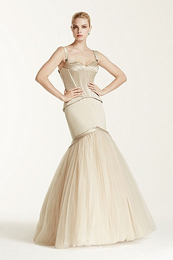 Fit and Flare Satin Tulle Tank Bodice Gown ZP341565