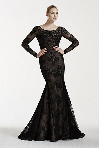 Long Sleeve Illusion Neckline Lace Mermaid Gown ZP341566