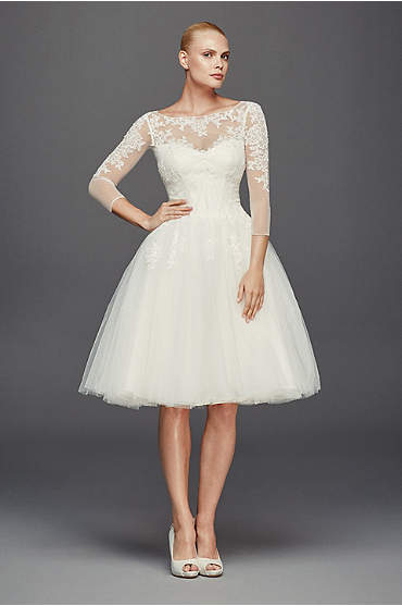 Short, ivory dress with sheer lace ¾ sleeves and tulle skirt