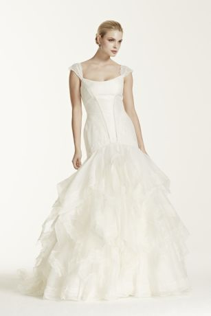 Truly zac posen wedding dress with lace cap sleeve david for Zac posen wedding dresses sale