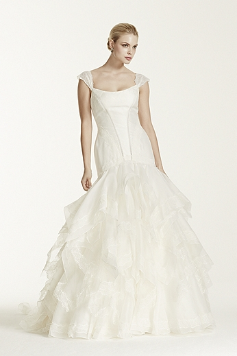 Organza Mikado Gown with Lace Cap Sleeves ZP345002