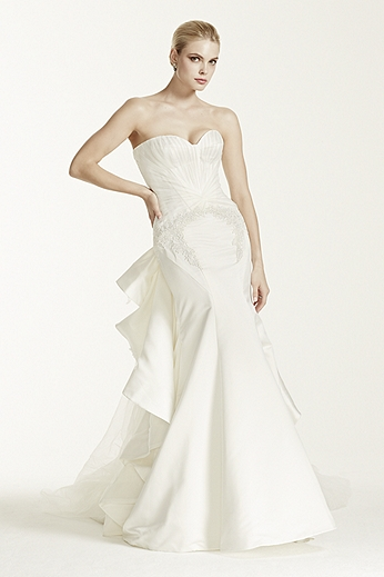 Strapless Duchess Satin Fit and Flare Gown ZP345004