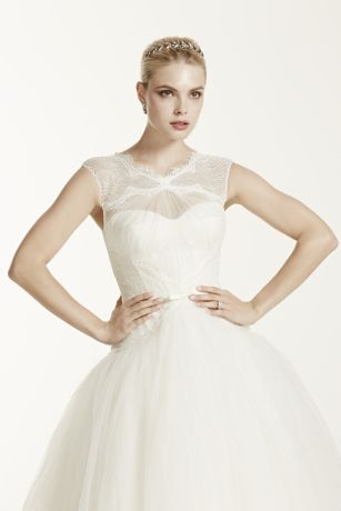 Truly zac posen lace and tulle wedding dress david 39 s bridal for Truly zac posen wedding dress with sequin detail