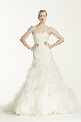 Lace Mermaid Gown with Organza Rosette Skirt ZP345021