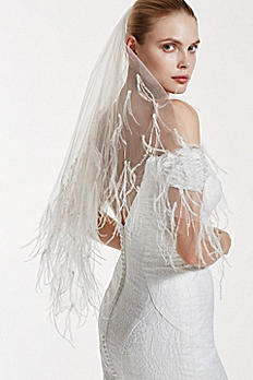 Truly Zac Posen Two Tiered Feather and Pearl Veil ZPV07V2