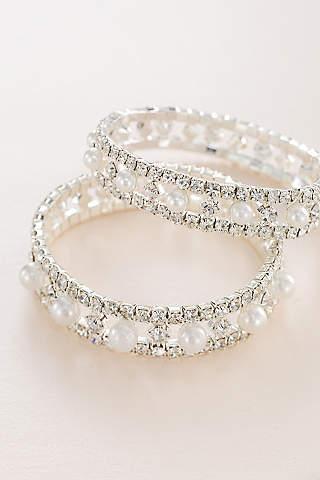 Bridal wedding bracelets bangles davids bridal pearl and crystal alternating stretch bracelet junglespirit Choice Image