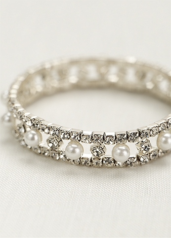 Pearl and crystal alternating stretch bracelet. ZSH-079