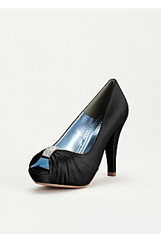 Crystal Ornament Charmeuse Pleated Peep Toe Diana Black