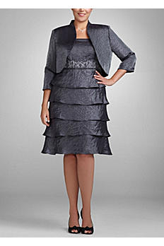 Two Piece Shimmer Jacket Dress with Tiered Skirt 356480