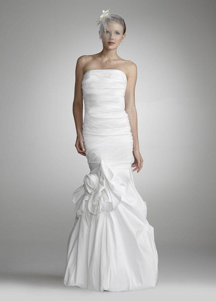 David 39 s bridal strapless taffeta mermaid wedding dress w for Taffeta mermaid wedding dress