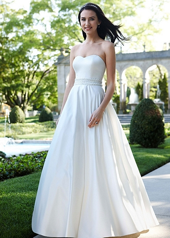 Strapless Satin A-Line with Beaded Waistband WG3389