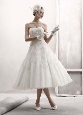 Strapless Tulle Embellished Tea Length Gown   David's Bridal