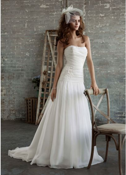 Gossamer Gown with Drop Waist and Floral Appliques | David\'s Bridal
