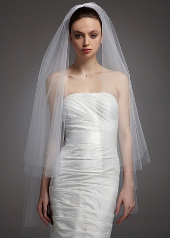 Two Tier Walking Veil with Scattered Crystals V133