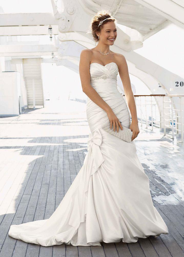 david 039 s bridal sample satin mermaid wedding dress with bow detail