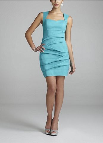 Short Sleeve Taffeta Dress with Open Back Detail 201C25130