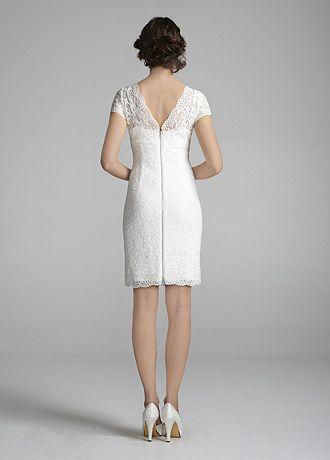 David's Bridal Short Lace Cap Sleeve Wedding Dress with ...