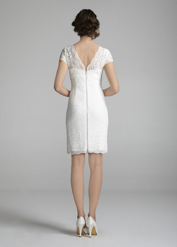 David's Bridal Short Lace Cap Sleeve Wedding Dress with ...