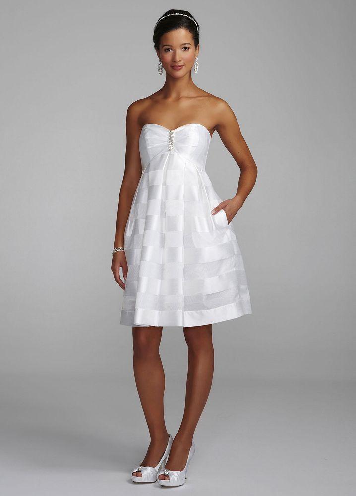 David 39 s bridal organza baby doll wedding dress with for Wedding dress bling detail