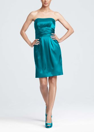 Charmeuse Short Dress with Ruched Waist and Pocket 83707