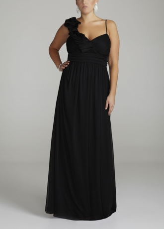 One Shoulder Long Mesh Dress with Floral Detail 8420Z200W