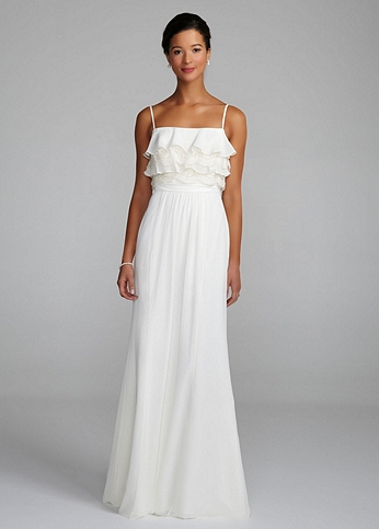 Chiffon Dress with Layers of Lace Tiers on Bodice 875361