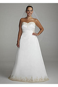 Strapless A Line Satin Gown with Beaded Lace 9OP9264