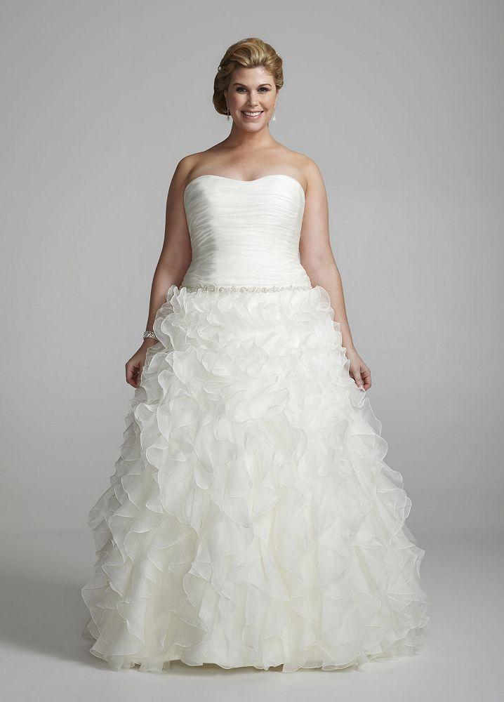 David 39 s bridal strapless organza ball gown wedding dress for Ruffle ball gown wedding dress