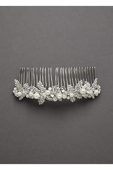 Embellished Crystal and Pearl Comb
