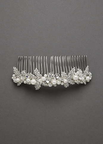 Embellished Crystal and Pearl Comb C469