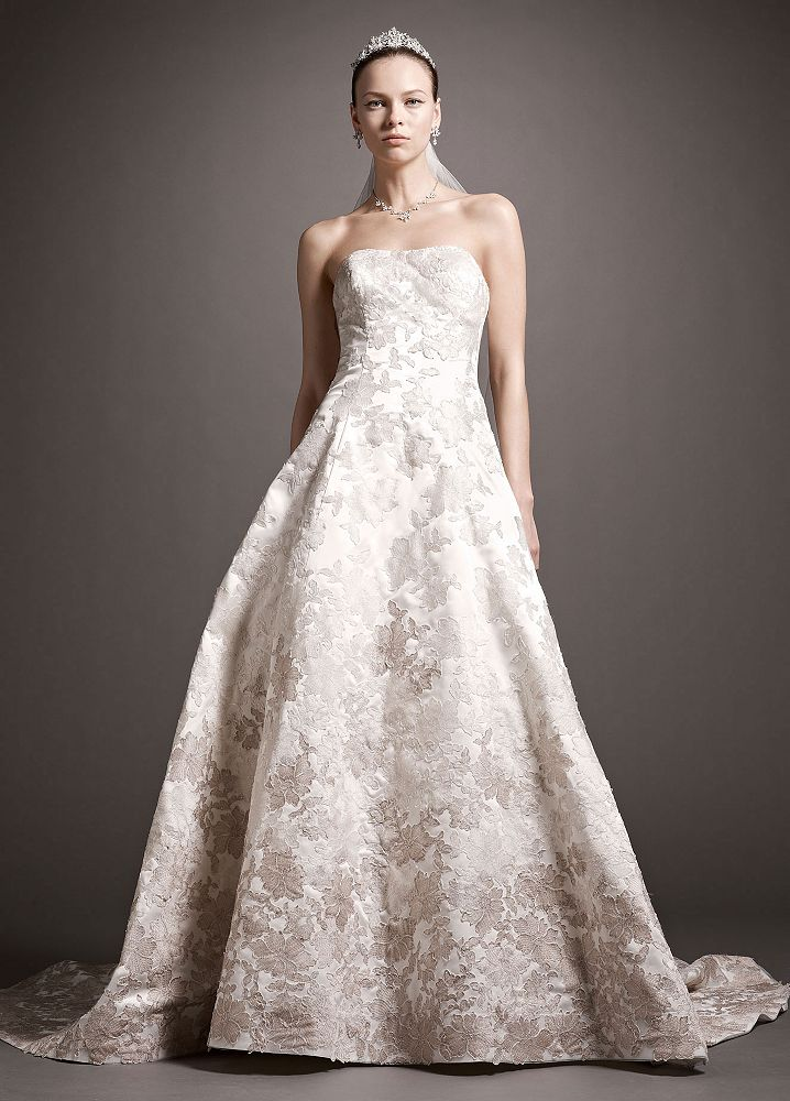 Oleg cassini satin ball gown wedding dress with ombre for Satin and lace wedding dresses