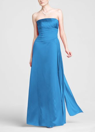 Strapless Satin A-line with Pleated Chiffon Bodice F13573