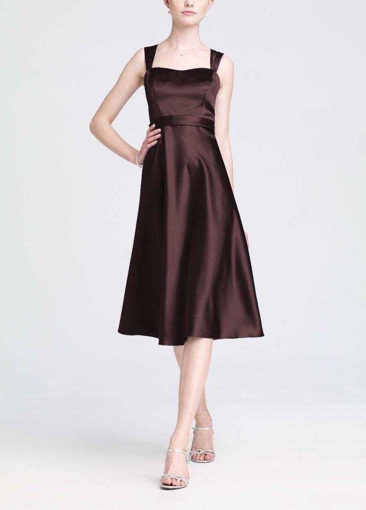 David's Bridal Satin Wide Strap Tea Length Dress Style ...