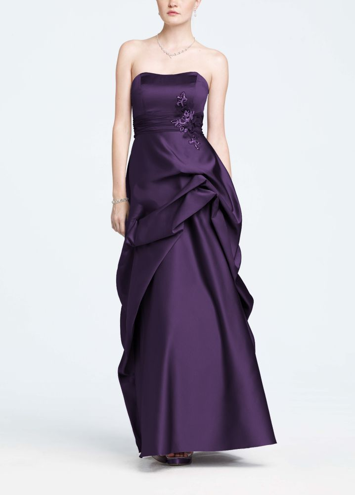 Strapless satin and organza side pick up ball gown for David s bridal strapless wedding dress