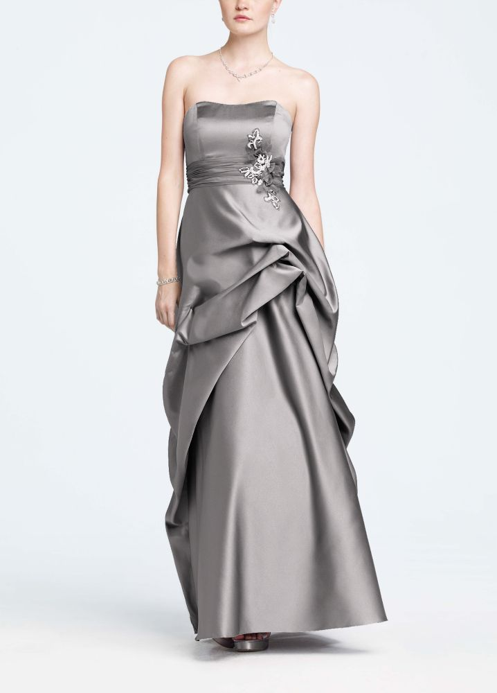 Strapless satin and organza side pick up ball gown for Need to sell my wedding dress