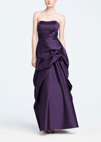 Strapless Satin and Organza Side Pick-Up Ball Gown F14854