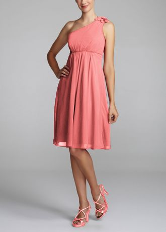 One Shoulder Chiffon Dress with Petal Detail F15332