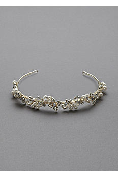 Crystal Floral and Pearl Cluster Headband H8117