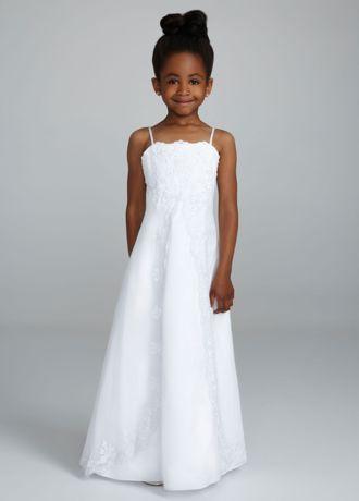 Satin spaghetti strap princess a line gown david 39 s bridal for David s bridal princess wedding dresses