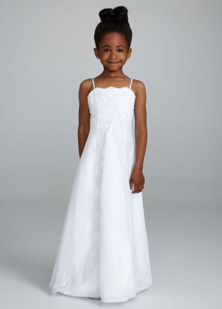 David 39 s bridal satin spaghetti strap princess a line gown for David s bridal princess wedding dresses