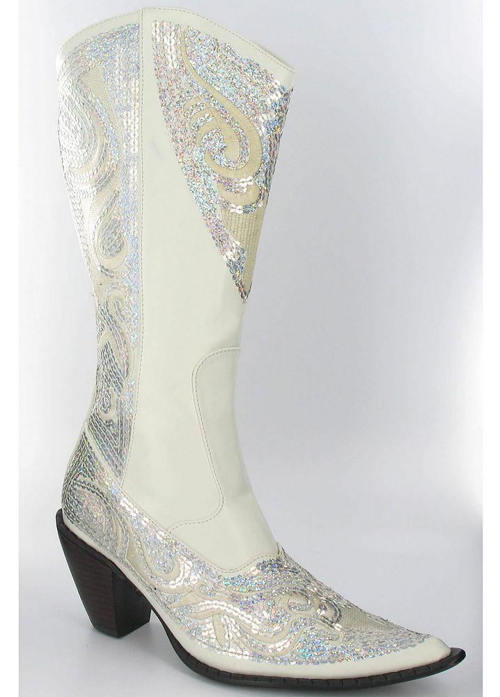 Davids Bridal Wedding Amp Bridesmaid Shoes High Heel Cowboy Boot With Sequins
