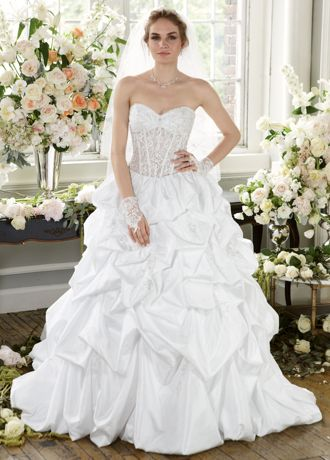 David's Bridal Wedding Dress Pick Up with Illusion Bodice and Lace Up ...